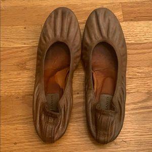 lanvin distressed brown balet flats